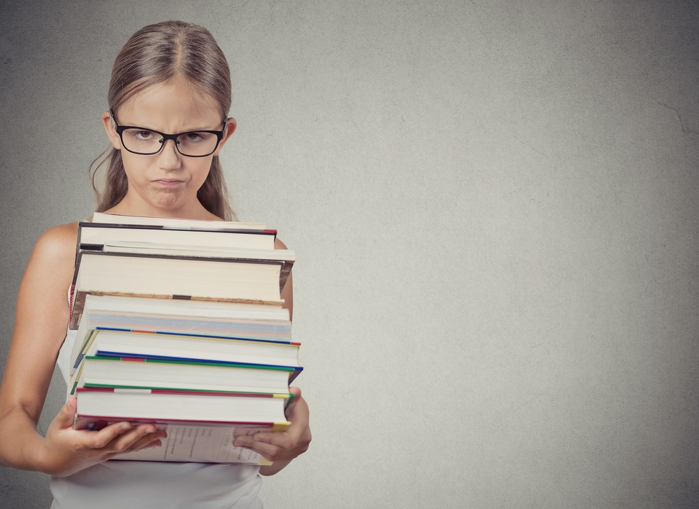 girl with too much homework