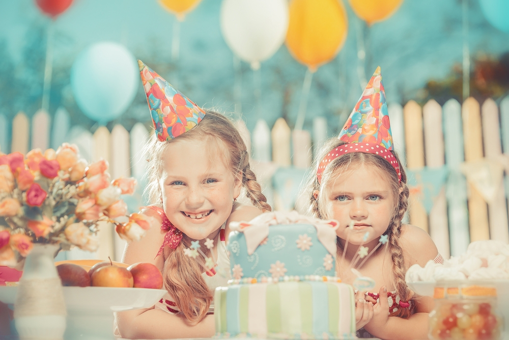 little girls at birthday party