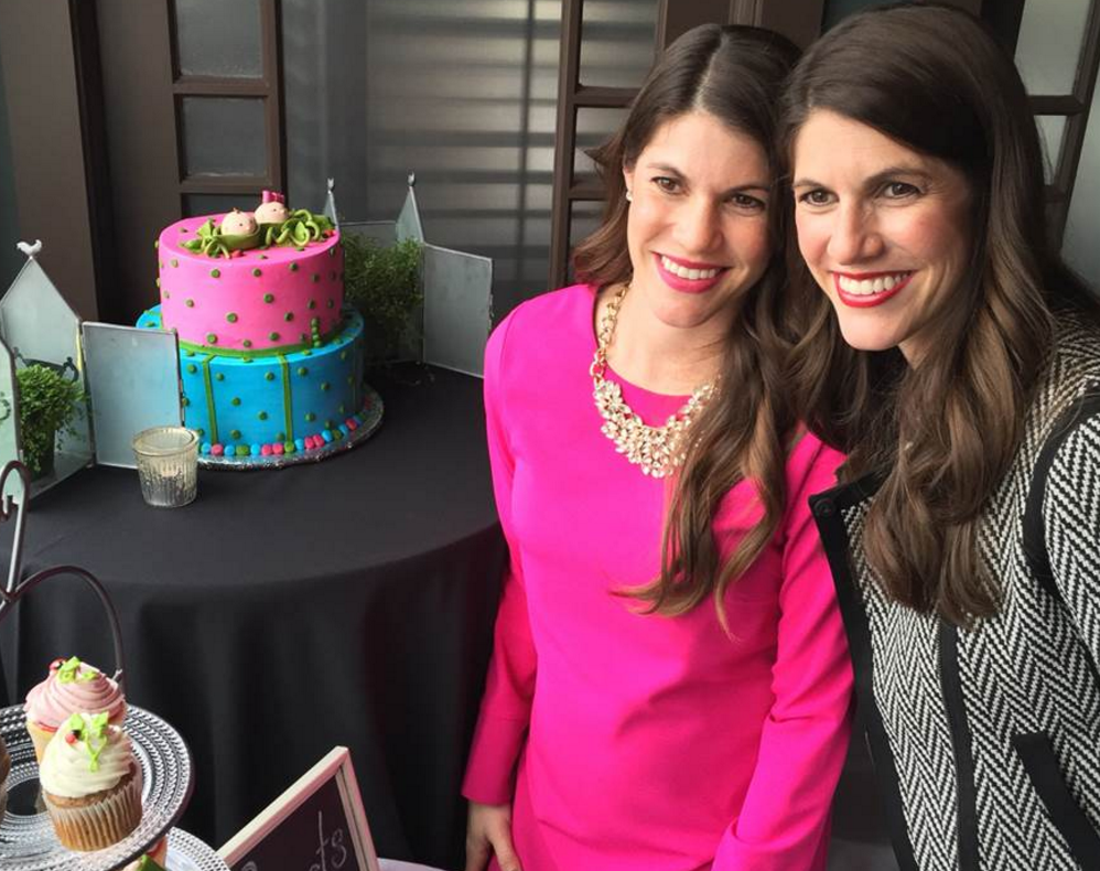 Sisters Sarah Mariuz and Leah Rodgers at their baby shower.
