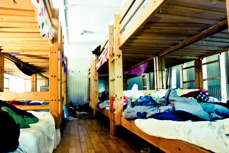 Messy dorm room from a summer camp for children