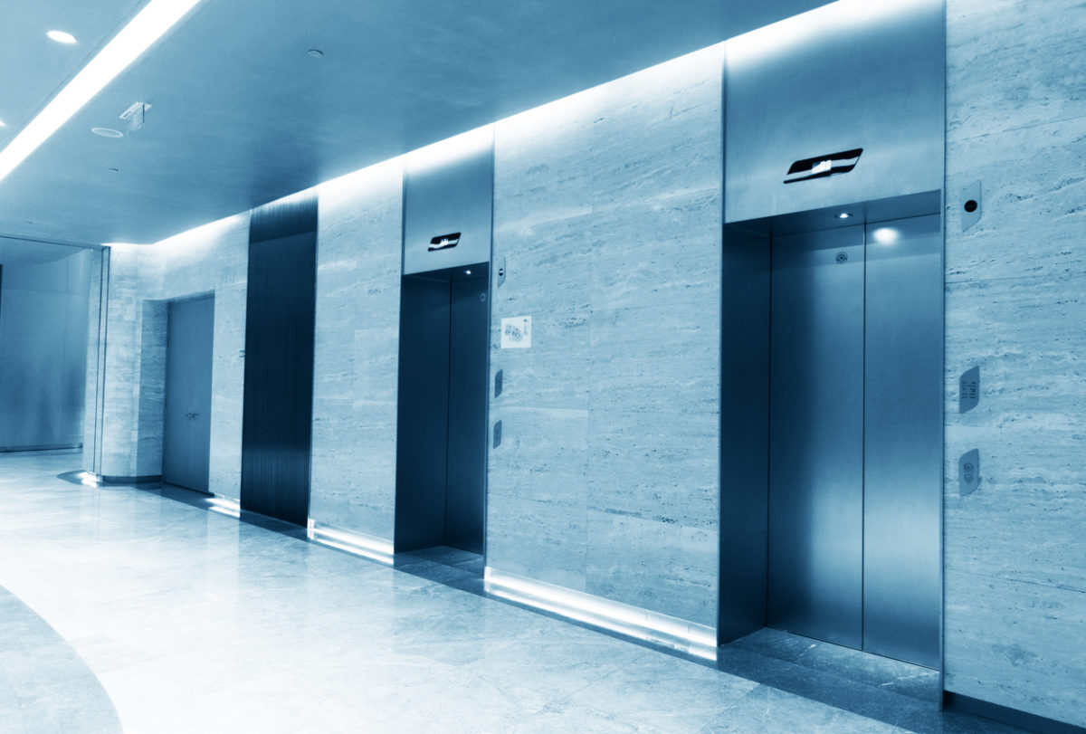 Closed elevator in office building