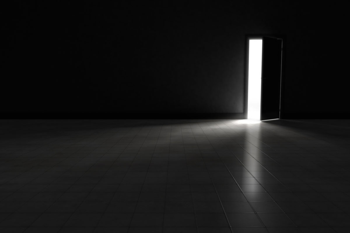 An open door with bright light streaming into a very dark room. Background Illustration.