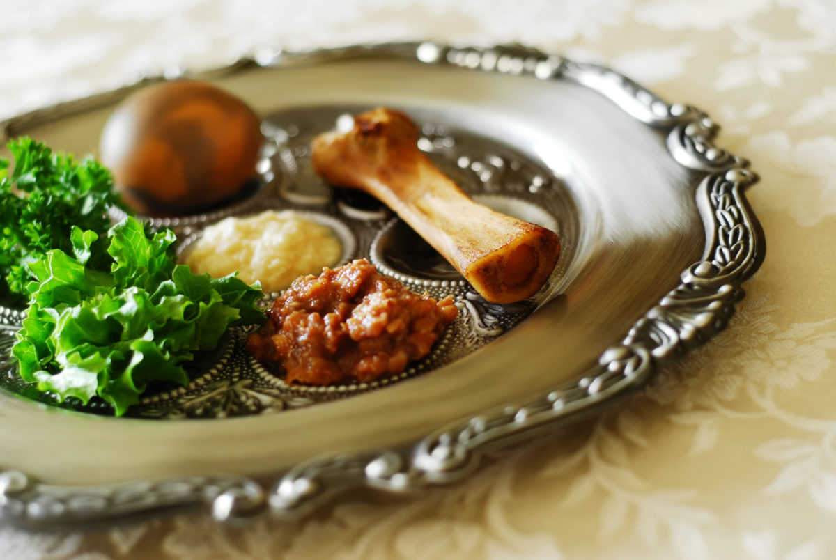 Traditional symbols on a seder plate for the Jewish festival of Passover.