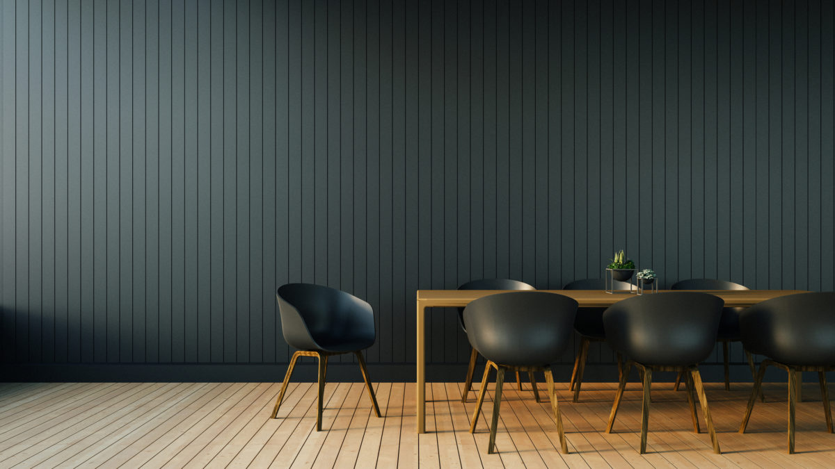 Simple of Working and Dining set Modern / 3D rendering