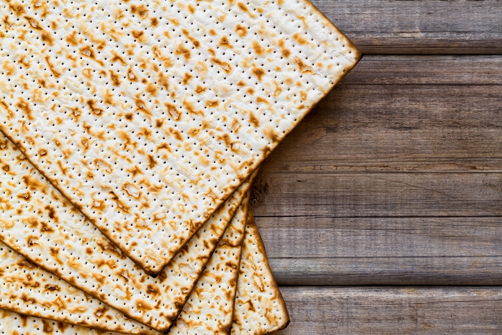 Matza on a wood background