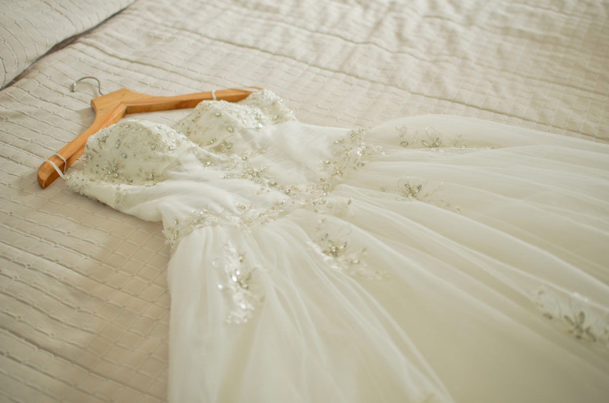 wedding dress are placed on the bed, preparations for the wedding