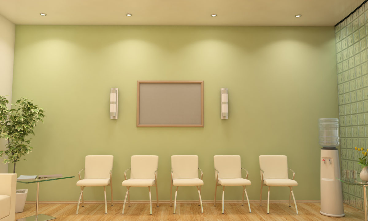 Modern Waiting Room / Lobby Interior Scene With Blank Frame.