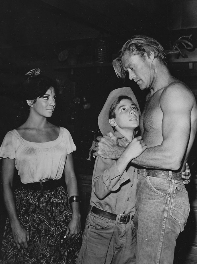 The Rifleman (1961), L-R: Ziva Rodann, Johnny Crawford and Chuck Connors