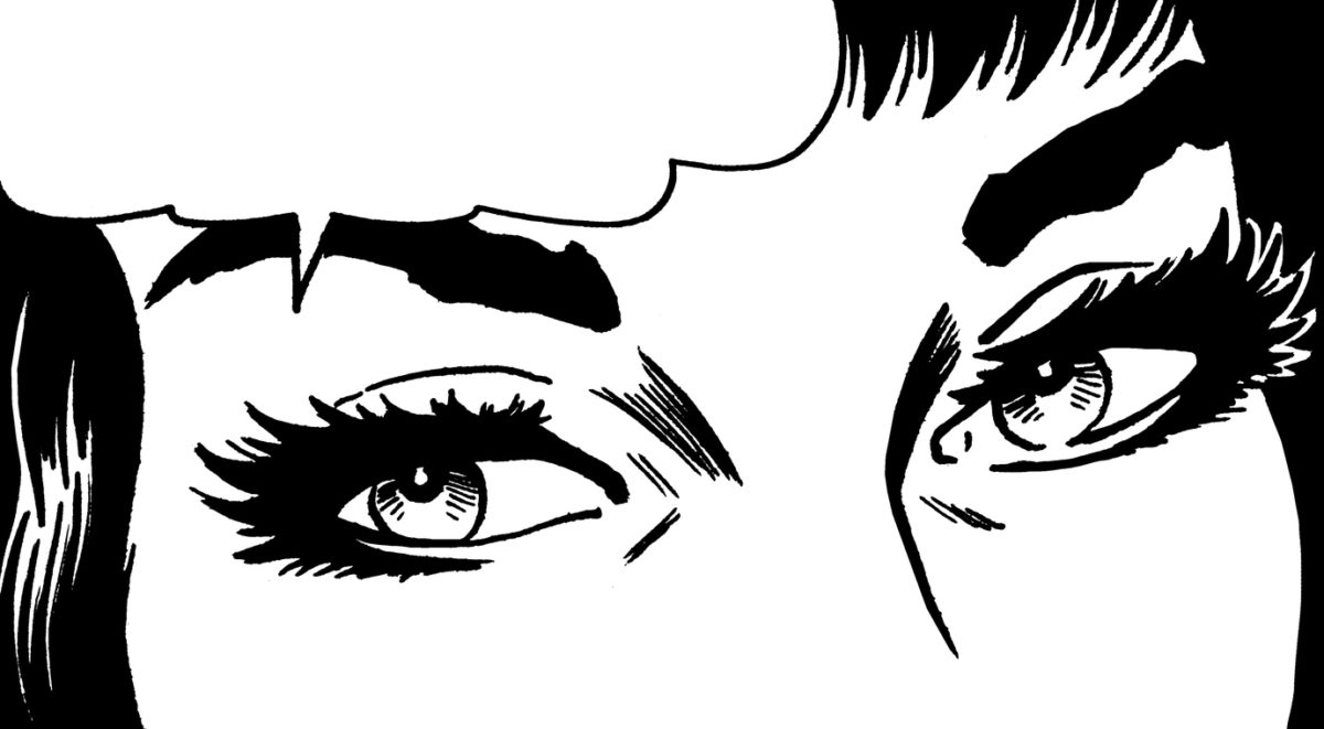 Close up of Woman's Eyes With Speech Balloon