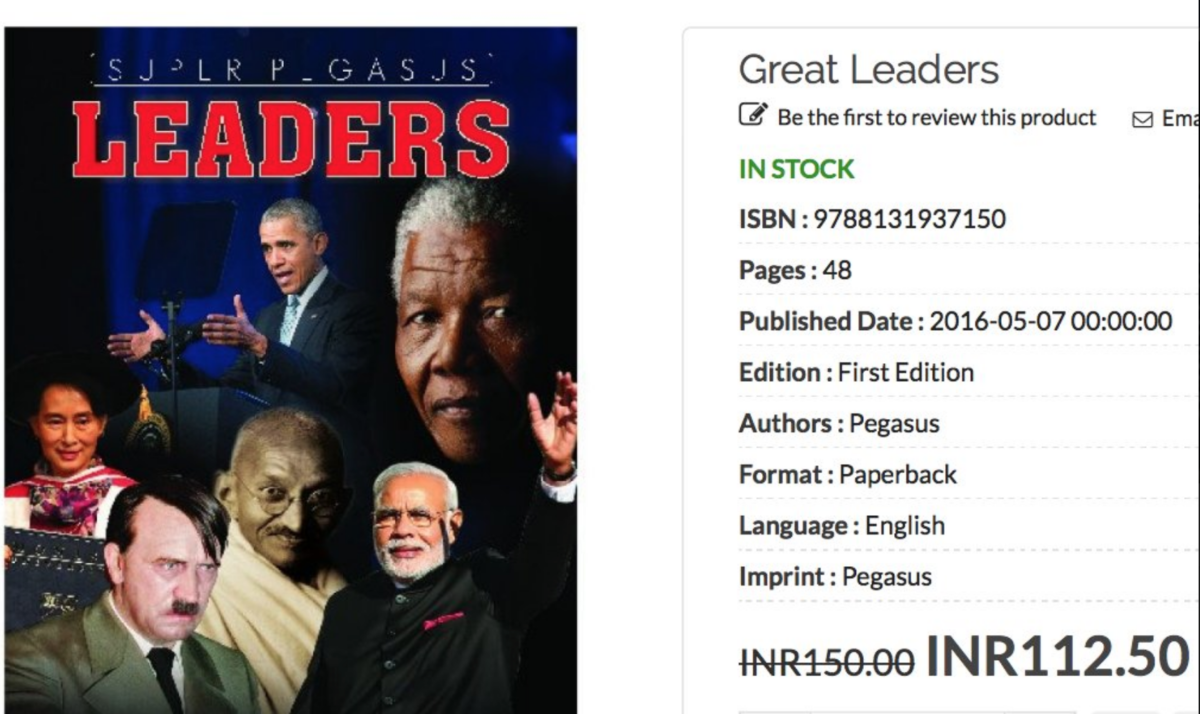 """Hitler on the cover of a children's book about """"Great Leaders"""" - WTF?!It's not a sick joke. Website for Indian publisher @bjain_publisher says it's """"men and women who will inspire you...who have devoted their lives for the betterment of their country...""""https://t.co/rzuc8NW6Li pic.twitter.com/cligGZVXB3— Gerald Posner (@geraldposner) March 16, 2018"""