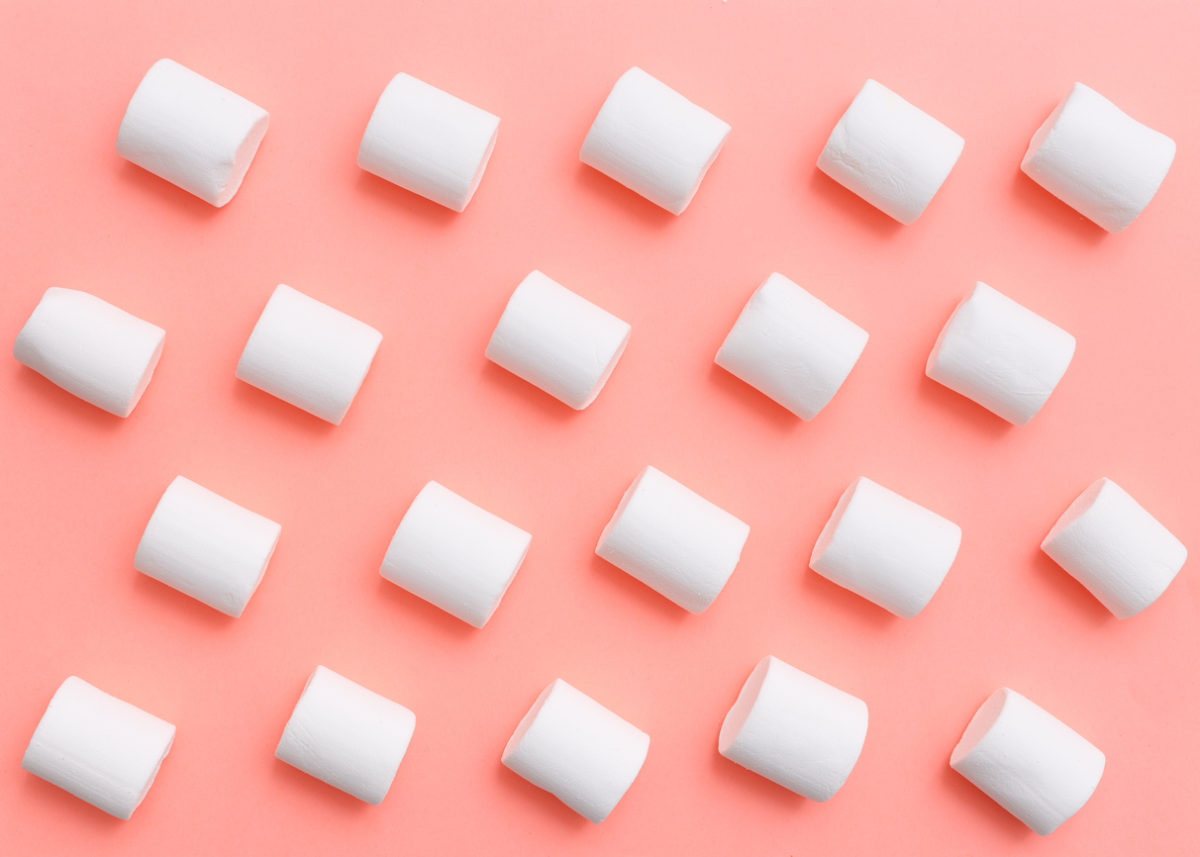 marshmallow pattern, top view flat lay on colorful background
