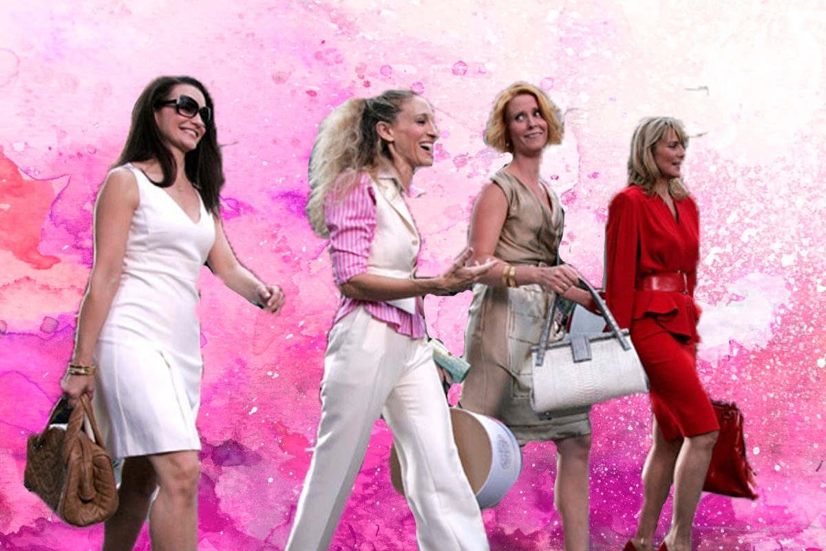 Sex and the City, SATC, Pink watercolor background on a white paper