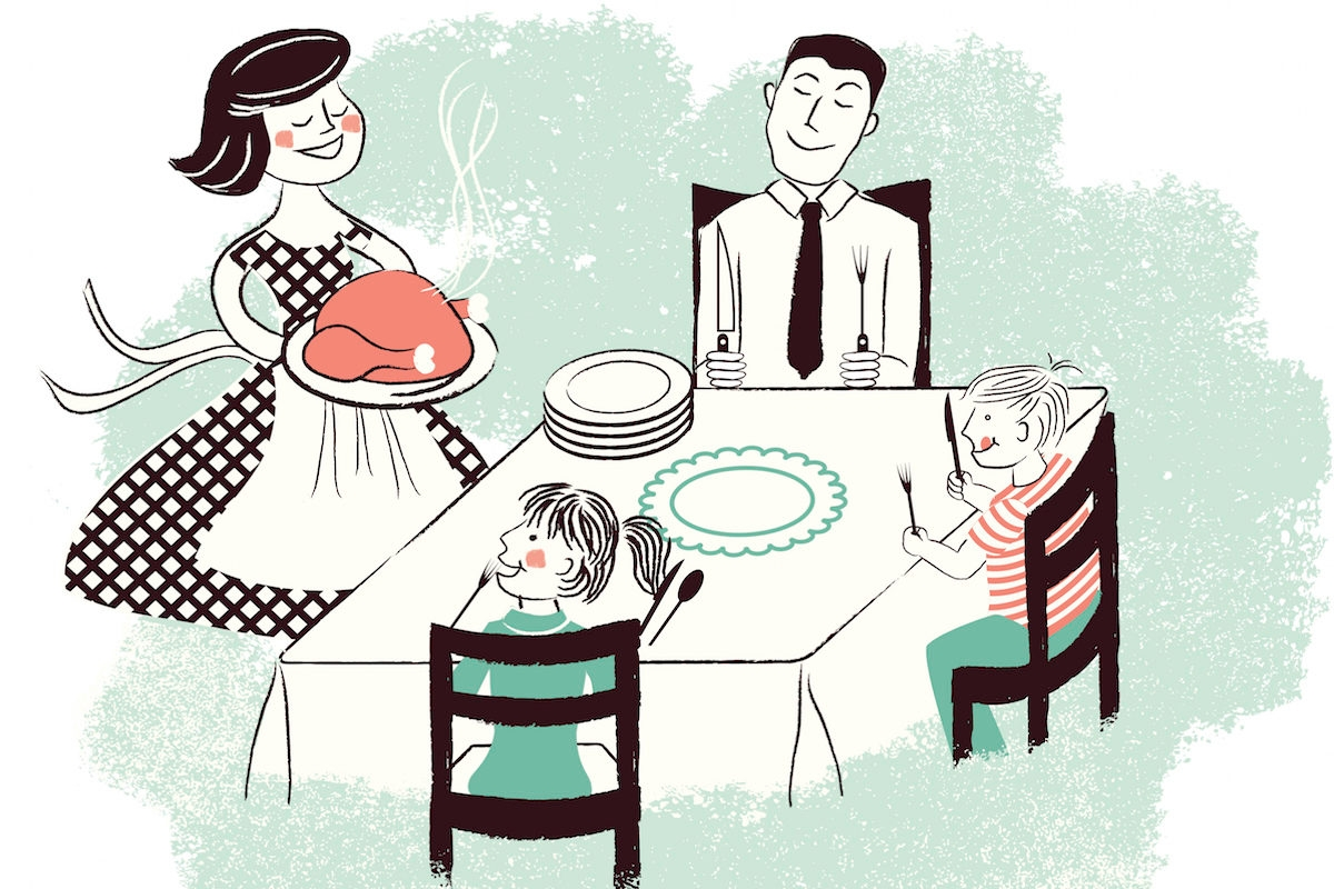 Retro family meal time