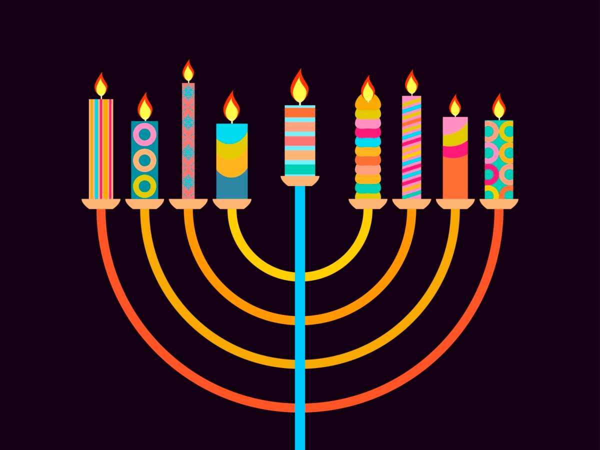 Happy Chanukah. Candlestick with nine candles of different colors. Vector