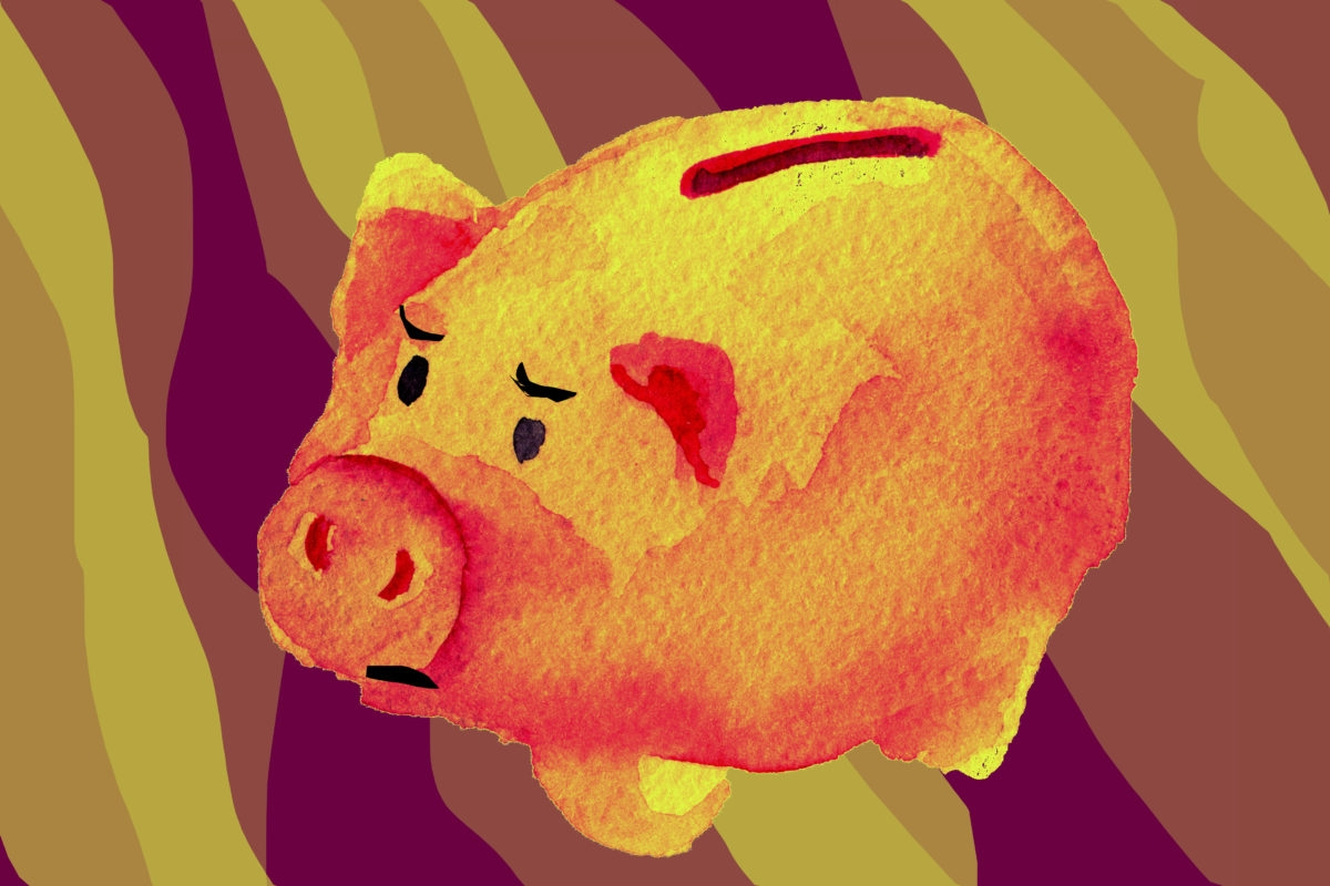 watercolor sketch of pig piggy bank on white background