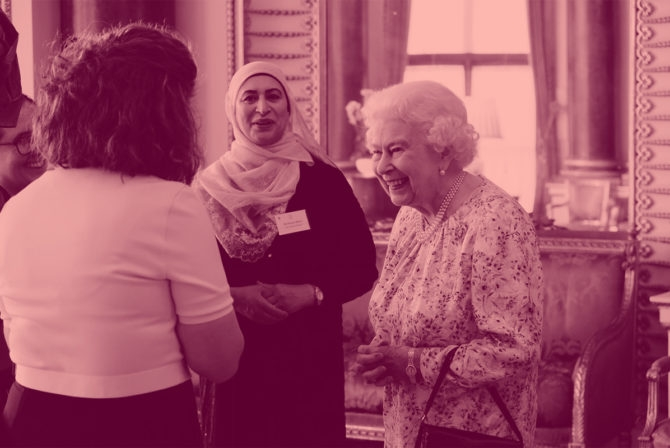 Queen Elizabeth II and Anna Dyson