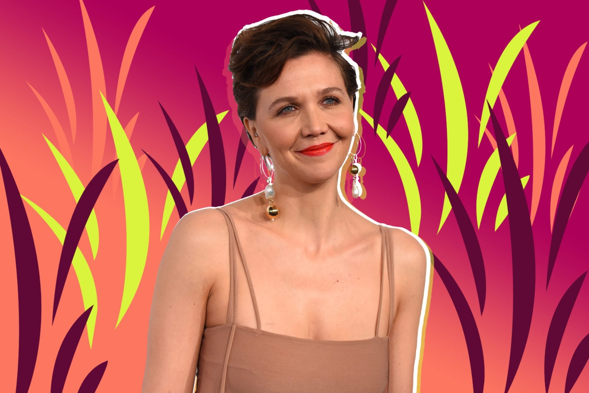Maggie Gyllenhaal on a bright background