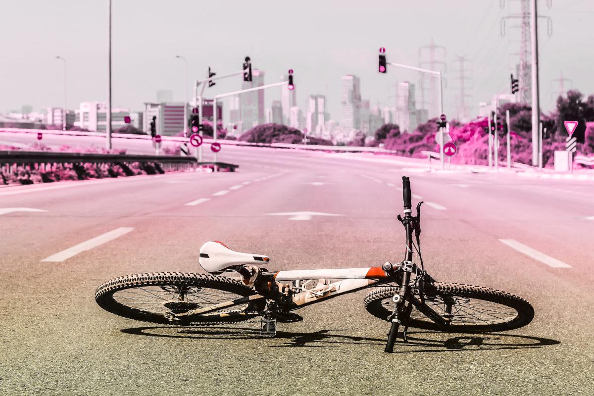 Mountain bike on empty highway
