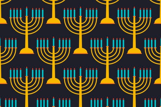 Hanukkah seamless pattern candlestick with nine candles. Vector
