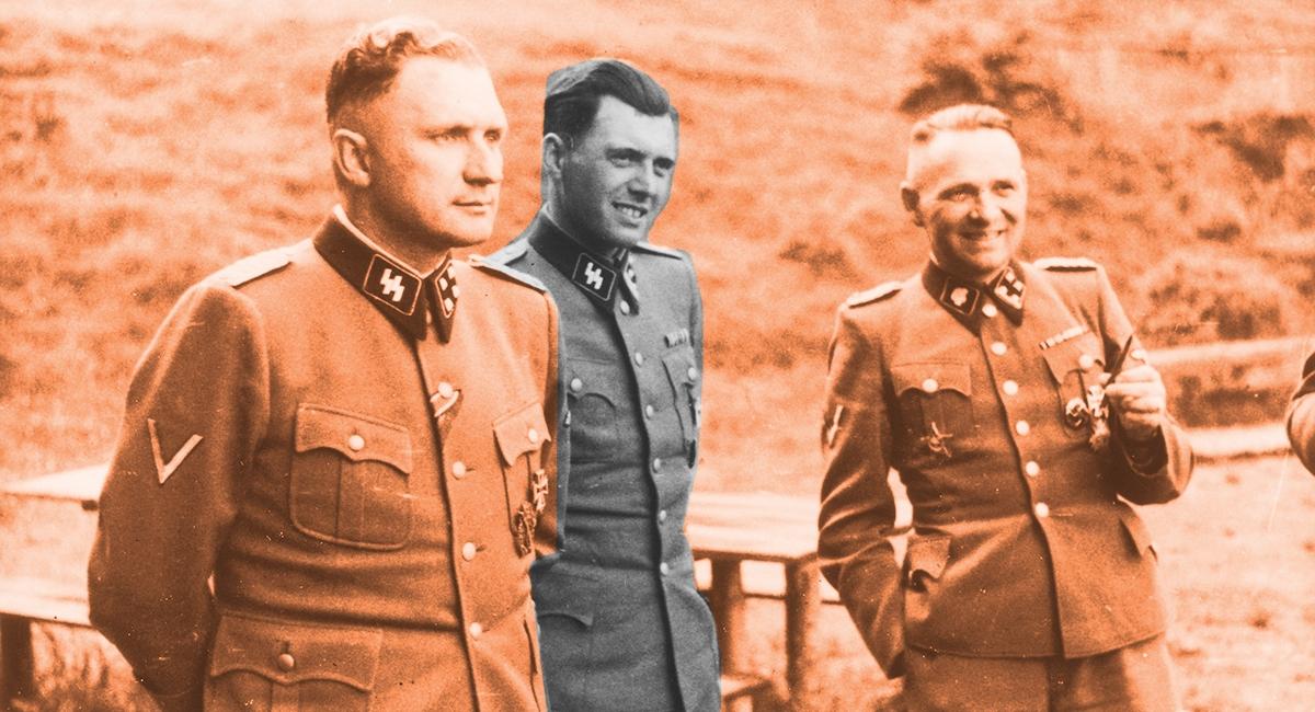 Richard Baer, Josef Mengele and Rudolf Höss at Auschwitz, 1944. Höcker Album