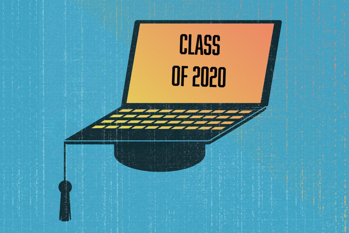 Graduation cap as a part of laptop. Online eductation concept illustration.