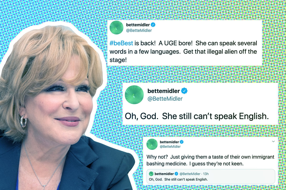 Bette Midler and her xenophobic tweets