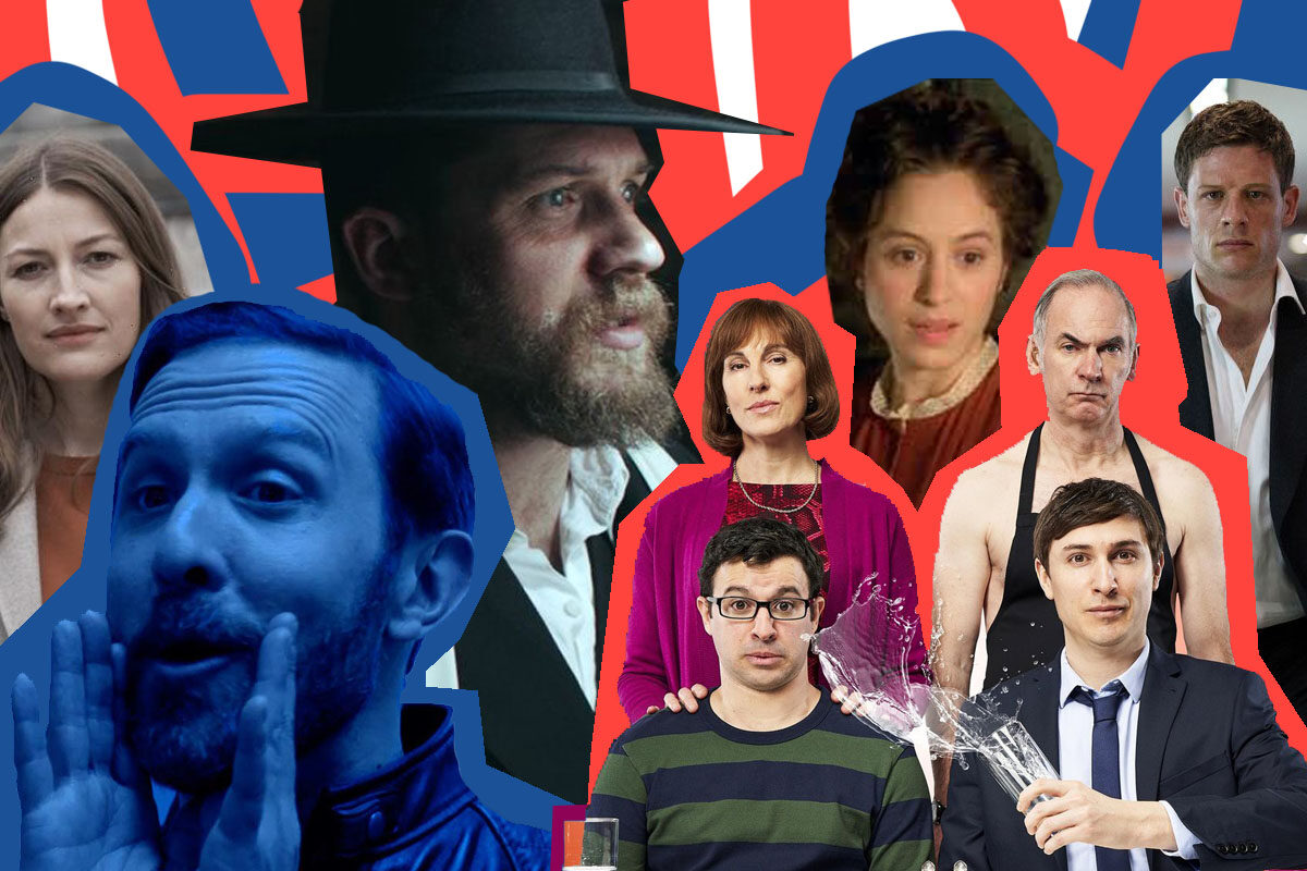 Collage of Jewish characters from British shows