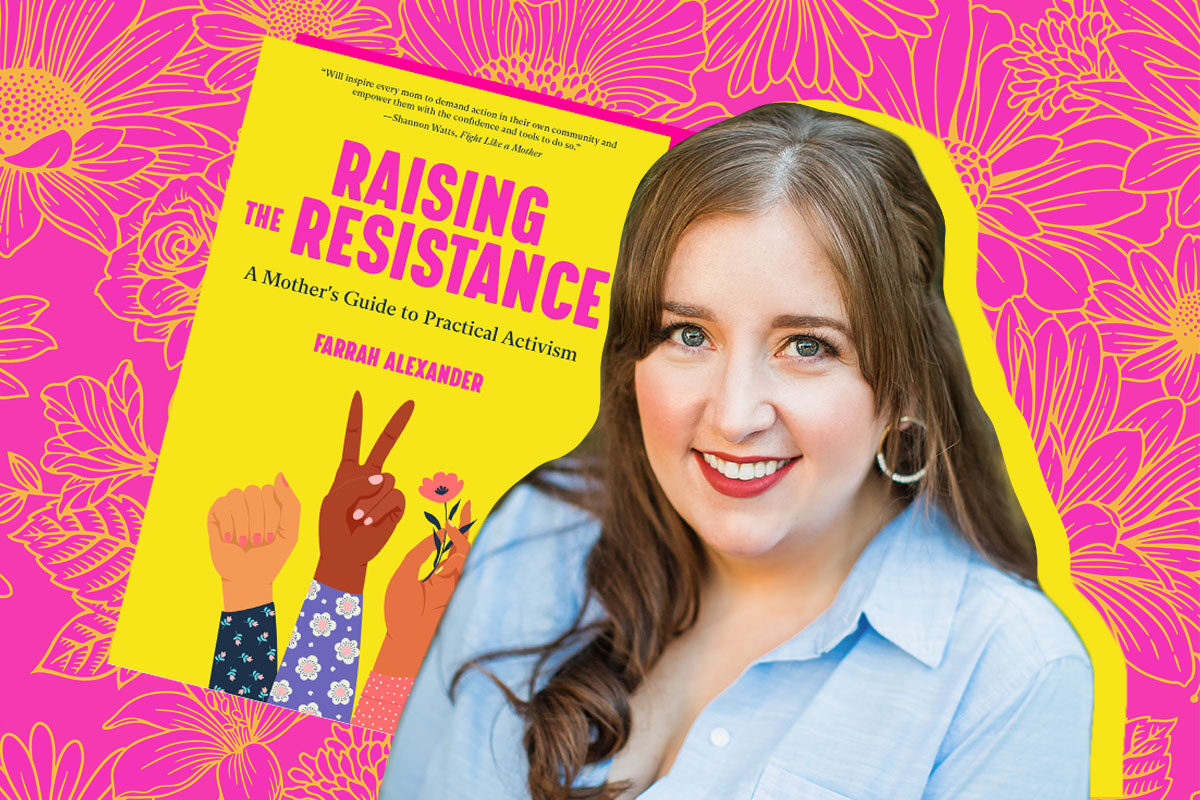 """Collage of Farrah Alexander and her book """"Raising the Resistance"""""""