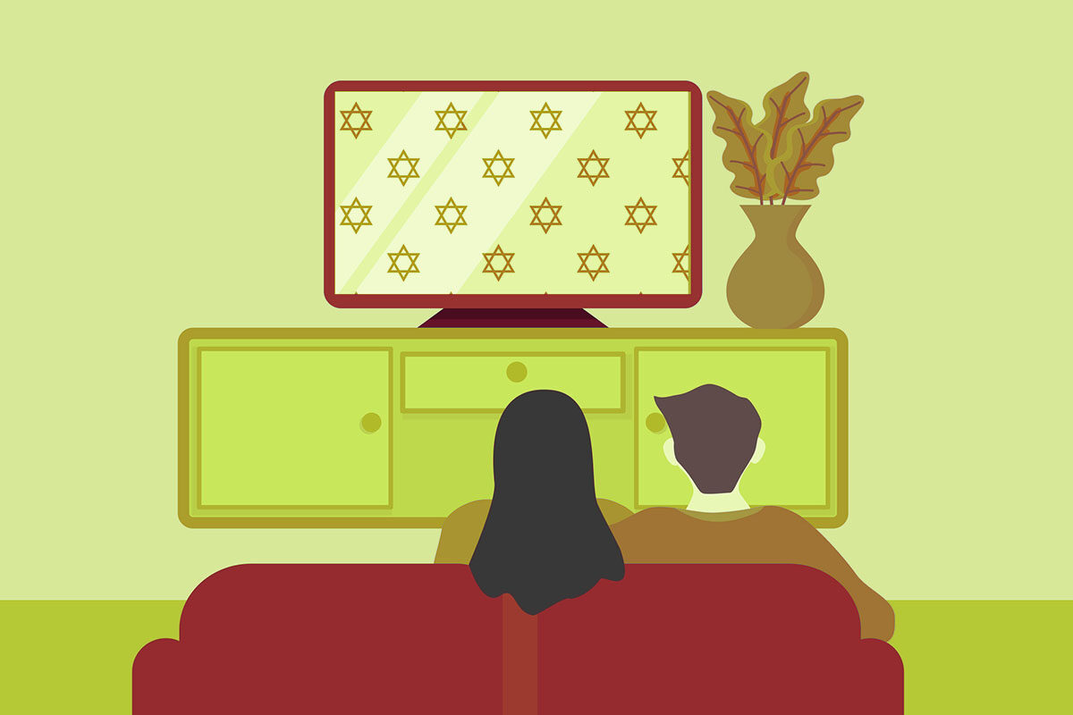 living room family watch TV