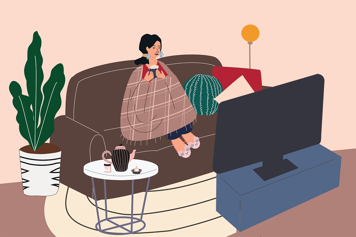 Woman sitting on cozy sofa. Young girl wrapped in blanket and drinking hot coffee or tea, watching movie and relaxing after work. Trendy interior in Scandinavian style. Every day routine. Flat cartoon vector illustration.