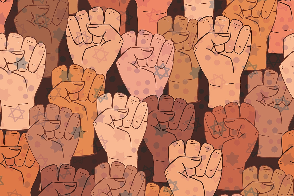 Vector seamless pattern with different ethnicity colors human fists. Background with strong fists.