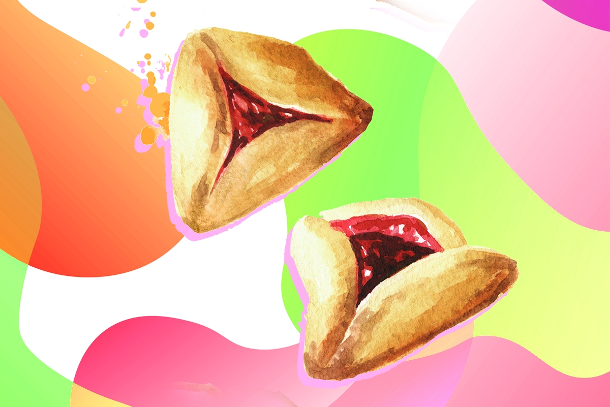 Falling Traditional Jewish cookies Hamantaschen or hamans ears for Purim holiday. Hand drawn watercolor illustration isolated on white background