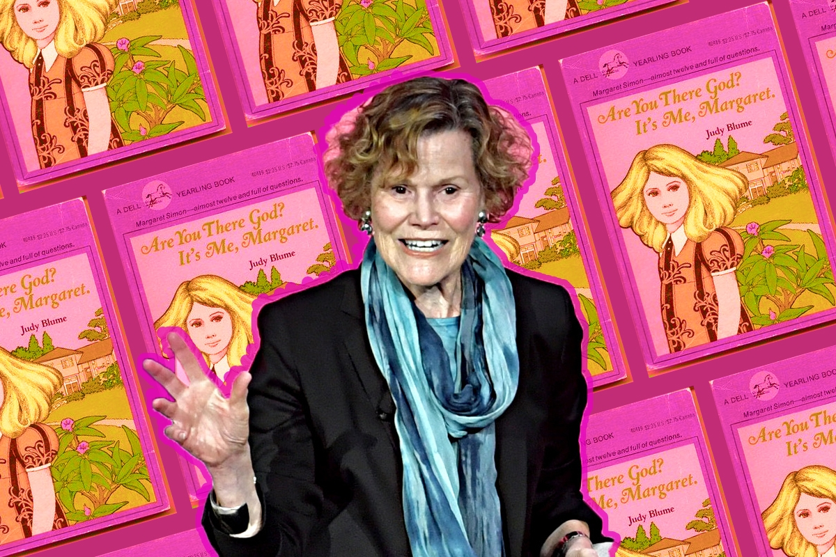 Judy Blume on a background of book covers