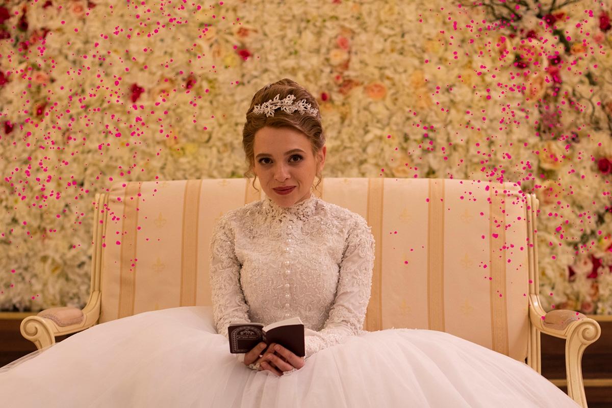 UNORTHODOX _ shira haas in the series, wearing a wedding dress