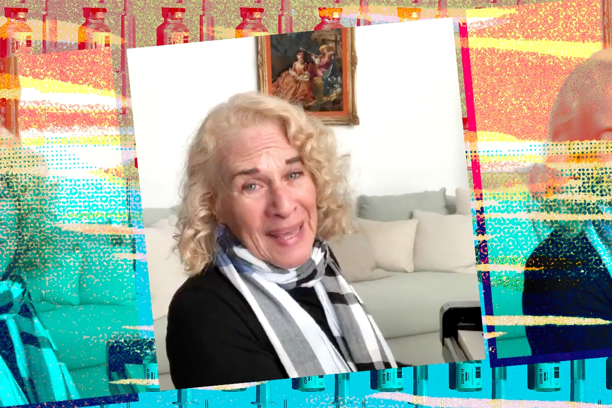 Carole King on a colorful background