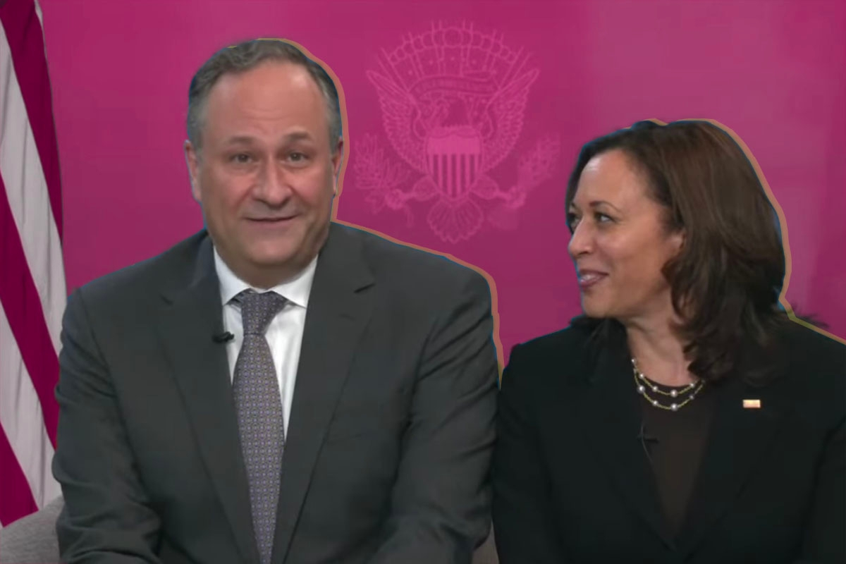 Doug Emhoff and Kamala Harris at the White House Passover seder 2021