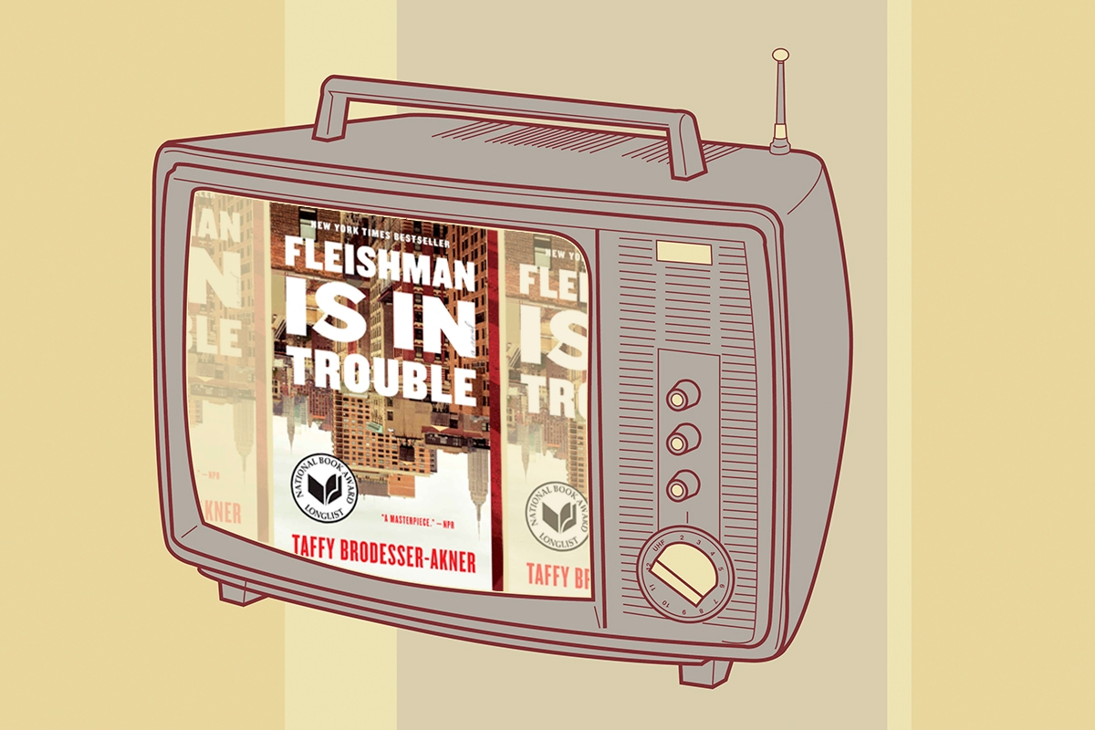 """Television with book cover of """"Fleishman Is In Trouble"""" inside."""