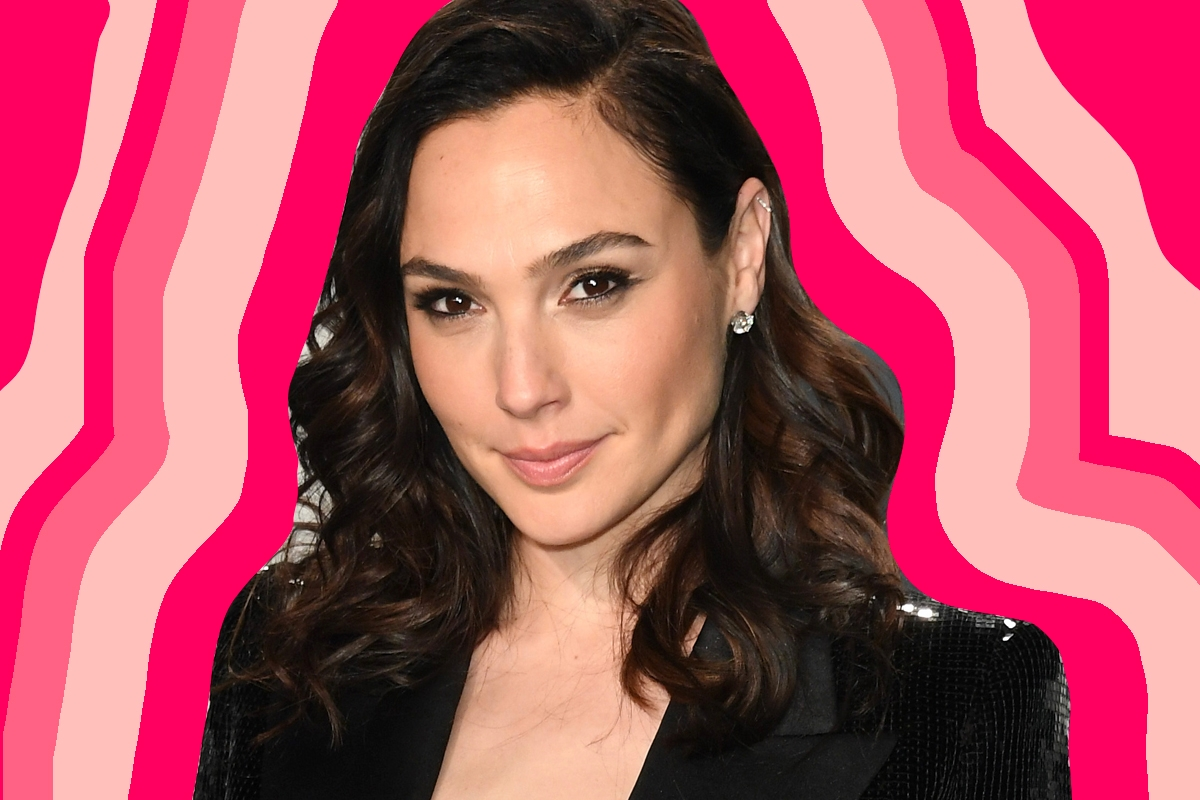 Gal Gadot on a colorful background