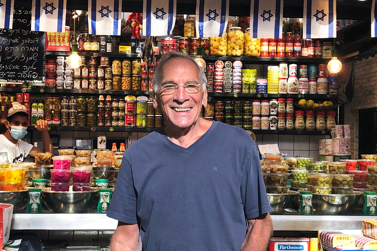 Abbey's dad in an Israeli shuk.