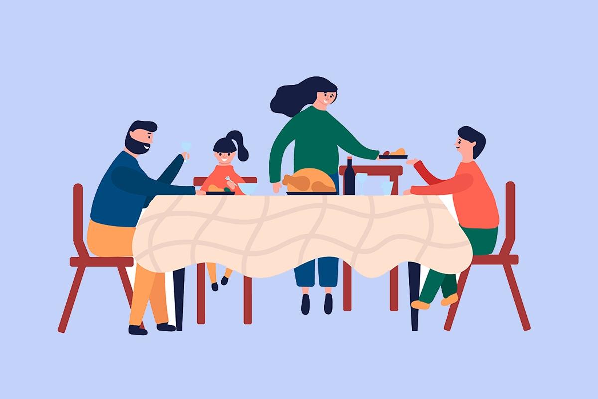 family eating a chicken dinner