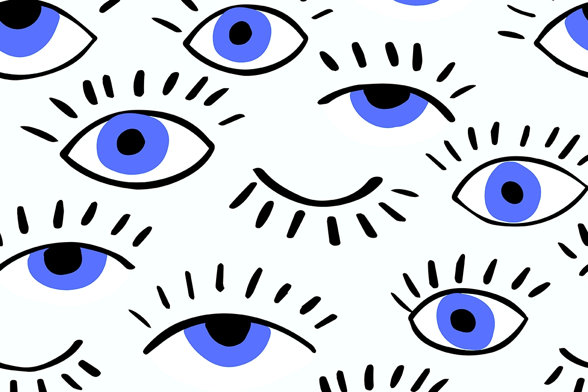Drawings of many different blue eyes.