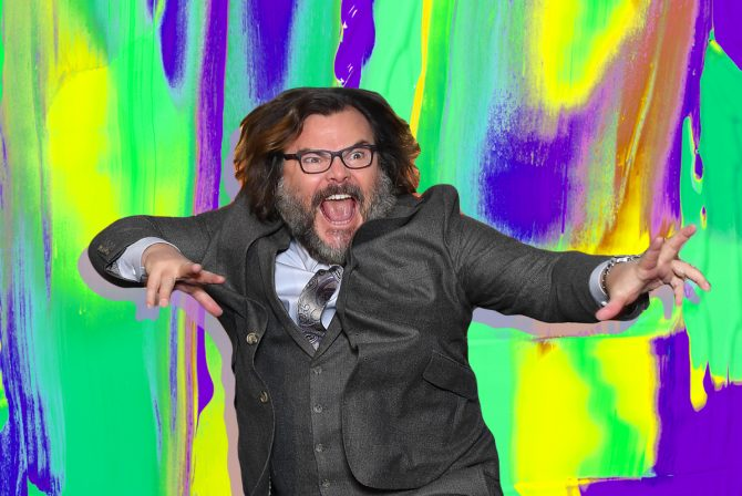 Jack Black on a colorful background