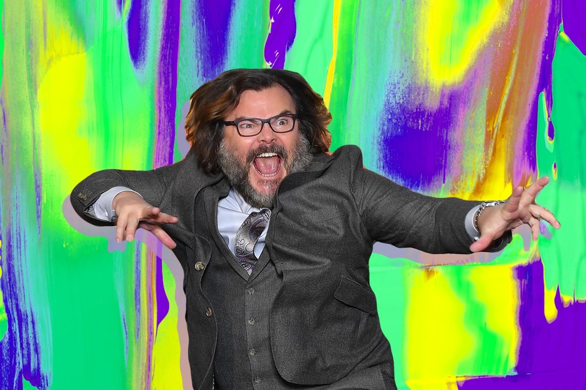 Jack Black on a colorful background