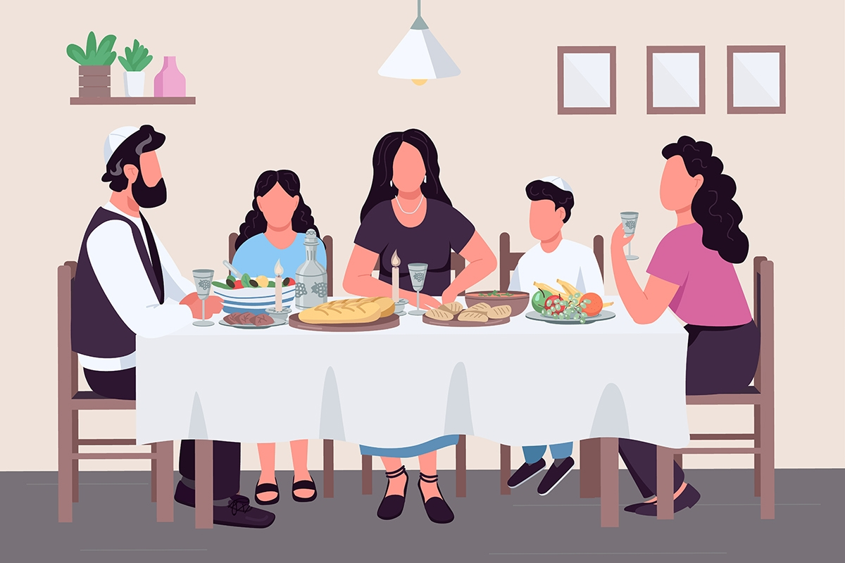 Family eating dinner at a table  with a white tablecloth, man wearing a yarmulke.