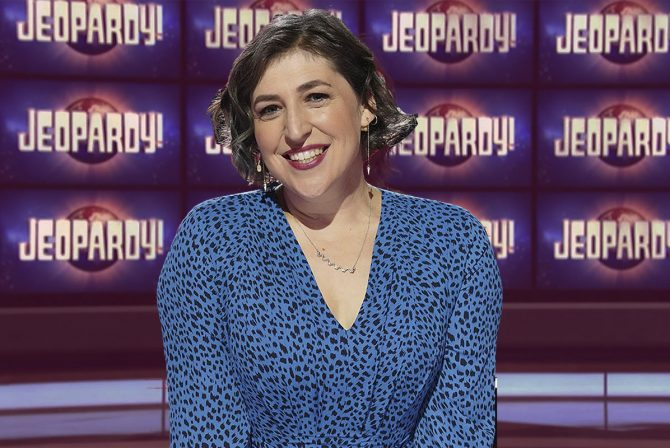 """Mayim Bialik on the stage of """"Jeopardy!"""""""