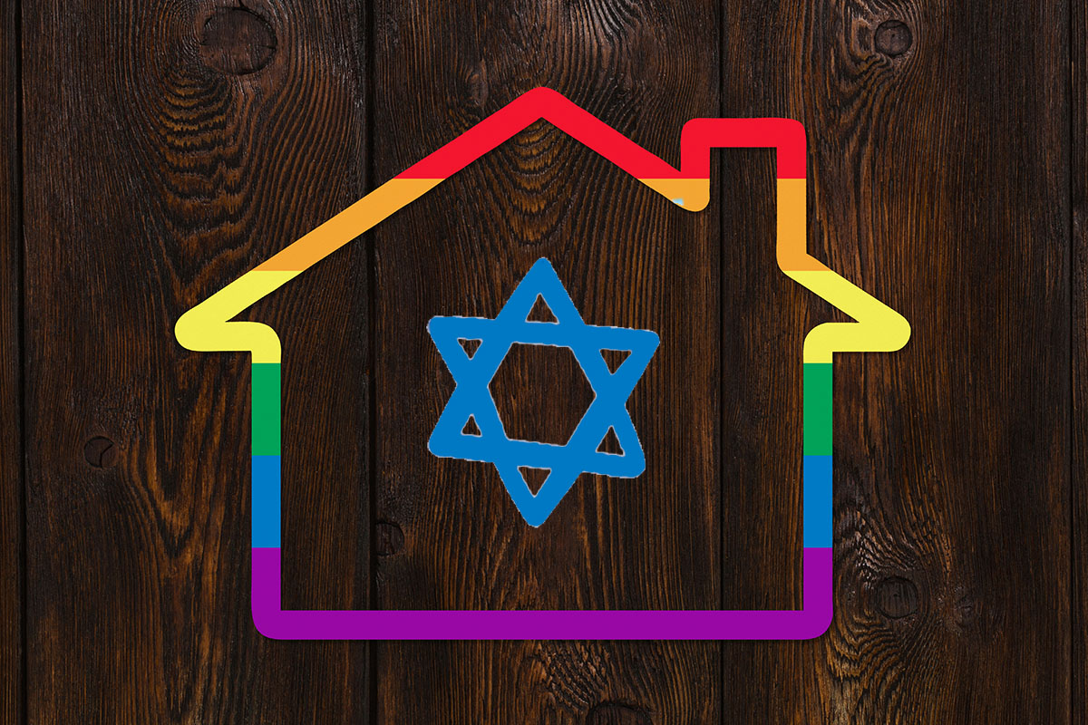 A house with a rainbow outline with a Jewish star in the middle.