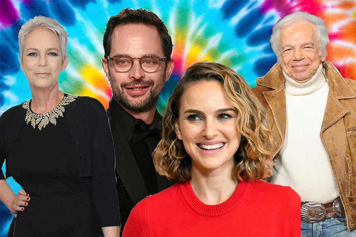 Jamie Lee Curtis, Nick Kroll, Natalie Portman, and Ralph Lauren in front of a tie-dye background.