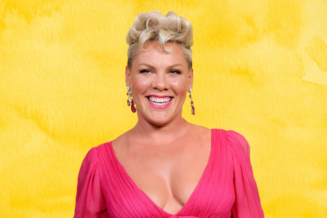 Jewish singer Pink on a yellow background.