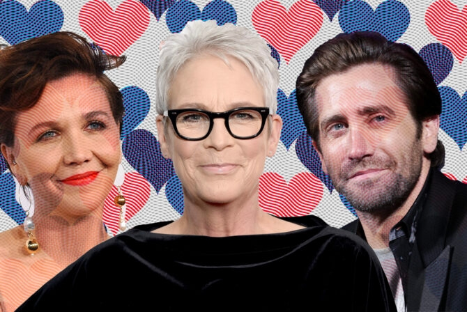l to r: maggie gyllenhaal, jamie lee curtis and jake gyllenhaal on a background of hearts