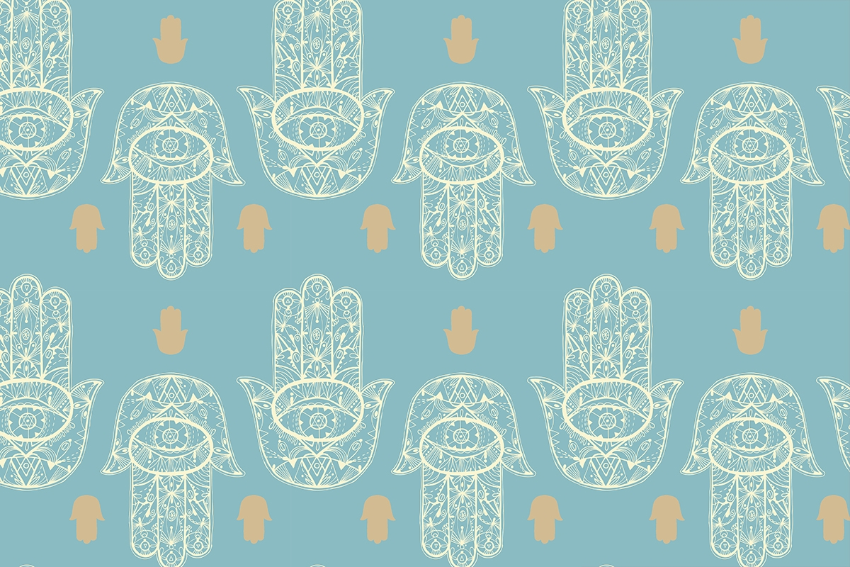 Hamsa hand seamless pattern. Vector texture.